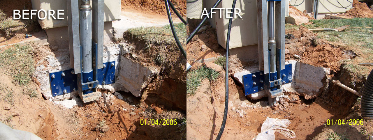 Pillar Before and After | Bedrock Foundation Solutions